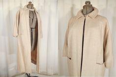 Vintage 1950s Coat - Champagne Blush Pink XL 50s Swing Coat by RockabillyRavenVtg on Etsy