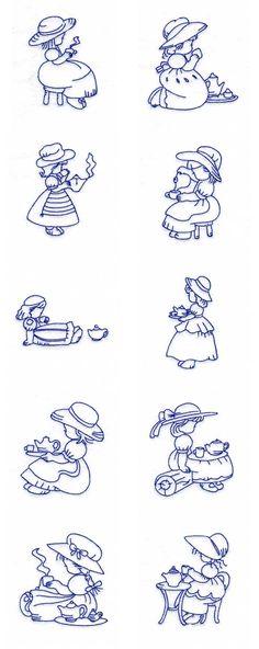 Machine Embroidery Designs - Sun Bonnets Tea Time Set