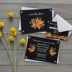 Black and white with a splash of bright colored floral designed wedding suite | CatPrint Design #1108