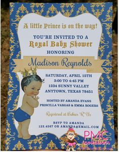 custom printed african american vintage antique royal prince baby shower invitations 100 each with envelope
