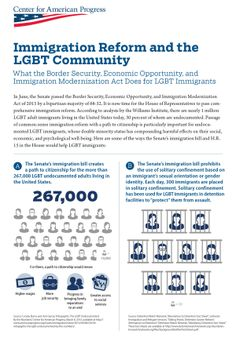 The Williams Institute estimates there are one million LGBT immigrants in the U.S., 30 percent of whom are undocumented. The Center for American Progress produced an infographic to map out what immigration reform could provide for LGBT immigrants.