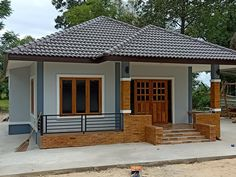 Model House Plan, My House Plans, Simple House Plans, Modern House Facades, Modern Bungalow House, Village House Design, Village Houses, House Design Pictures, Small House Design