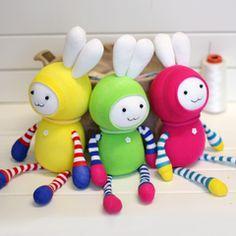 Handmade Colorful & Striped Sock Bunny [DIY Kit OR Finished Item]
