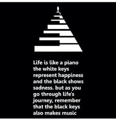 Life is life a piano, white keys represent happiness, black shows sadness,  go through life's journey, remember that the black keys also makes music