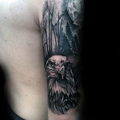 Guys Forest Bald Eagle Tattoo Half Sleeve