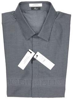 97f1c5f4a7e1 225.00   Versace Collection 'Frame Print' Grey & Black Shirt 42 ❤