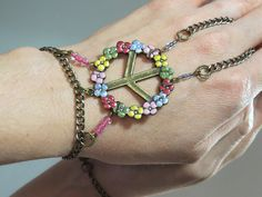 Rainbow Peace Slave Bracelet Ring Glittery by TheMysticalOasisGlow, $25.00