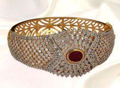 White and #Maroon Amercian #Diamond Studded #Bangle @  US $199.84 | Shop Here: http://www.utsavfashion.com/store/item.aspx?icode=jdc15
