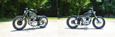 """""""Greengo"""" by TFMW - 1971 BSA A65.  Uniquely Styled BSA Bobber, was built for a Client in Mexico.  It Features a 1971 BSA A65 Engine, TFMW Full BSA Hardtail Frame, & a TFMW Vintage Black Seat.  Harkening Back to the Days Of Dual Sport Bikes it has an almost Dirt Bike Style Aesthetic.    http://thefactorymetalworks.com/pages/greengo"""