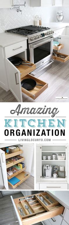 The best Kitchen Cabinet Organization Ideas! This Modern Farmhouse White Kitchen is full of clever ways to organize cabinets. Home organizing inspiration. In partnership with Thomasville Cabinetry and Kenmore. These simple ways to organize your kitchen cabinets are so fun!