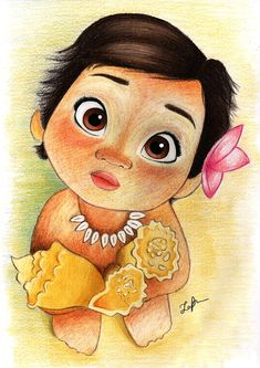 A4 print of my drawing of baby Moana from the Walt Disney film Moana. A perfect gift for a childs birthday or for any Moana fan. Would look great in a mounted white frame.