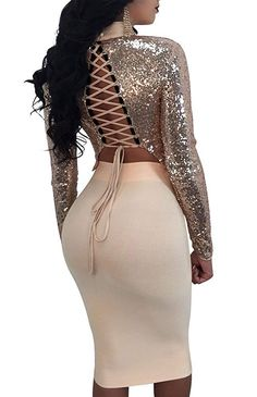 881ff4ea4d Lace up Sequins Two Piece Bodycon Dress