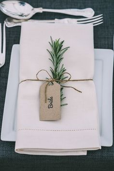 A simple way to add a touch of the greenery trend to your big day is to decorate you place names withs sprigs of herbs. See this pin on Pinterest