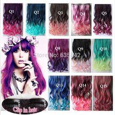 "Synthetisch Haar Clip In Hair Extensions Krullend Golvend 24 ""60 cm 110 gram Regenboog 14 Kleuren Mix Kleur Haarstukje accessoires"