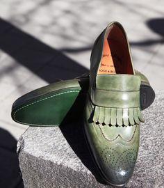 Green Santoni loafers