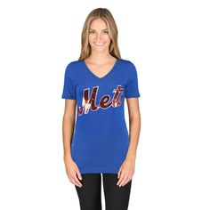 Women's New York Mets PINK by Victoria's Secret Royal Bling Athletic V-Neck T-Shirt