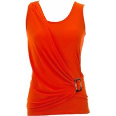 Jon & Anna  Orange Sleeveless Stretchy Draped Top With Buckle ($20) ❤ liked on Polyvore featuring tops, orange, orange tank top, drapey tank, stretch tank top, red tank top and stretchy tank tops