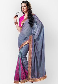 Brocade Purple Embroidered Saree at $121.60 (24% OFF)