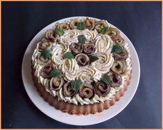 """Gâteau à la crème & """"roses"""" de crêpes fourrées aux pommes.   { sans sucre ajouté, allégé en matières grasses, sans lactose }"""