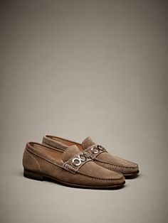 """Suede loafers with """"Mantegna motif"""" horsebit, leather soles with micro-injected rubber spheres. #ss14 #men #accessories"""