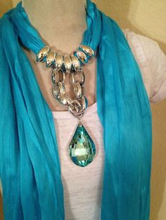 Choice Turquoise Scarf with Blue Drop Rhinestone Jeweled Scarf Scarf Necklace, Ribbon Necklace, Scarf Jewelry, Fabric Jewelry, Diy Scarf, Beautiful Outfits, Turquoise Necklace, Fashion Accessories, Jewelry Making
