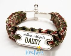 Personalized Paracord Bracelet for Dads  keepsake heirloom