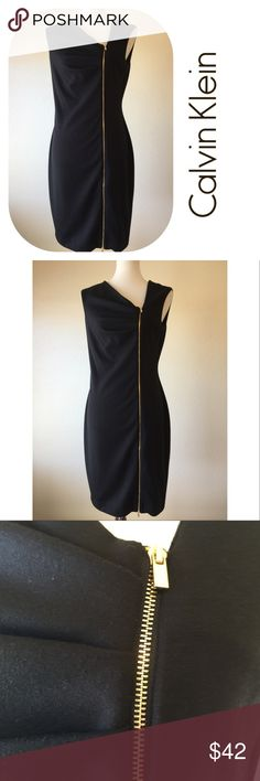 "Calvin Klein Front Zip Black Dress Beautiful Calvin Klein exposed functioning front zipper, slant V-neck black dress🔹Excellent condition🔹Size 8: 36"" bust, 38"" length, 29"" waist🔹Fabric: 77% polyester, 20% Rayon, 3% spandex🔹Dry clean only🔹No trades🔹Smoke free home🔹Thank you for stopping by our closet 💕🌷💕 Calvin Klein Dresses"