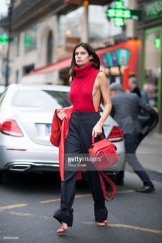 Sara Sampaio seen in the streets of Paris during the Paris Fashion Week on September 28, 2017 in Paris, France.