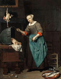 """""""""""""""The Cook, by Gabriel Metsu (Dutch, 1629-1667)"""""""""""" very cool kitchen scene. Large reflector style rotisserie, cat getting into fish, and strikingly familiar """"shaker"""" chair like we see in modern times."""