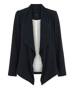 Navy Waterfall Blazer | New Look