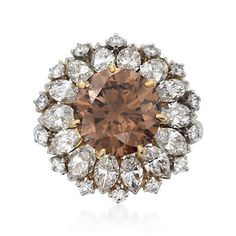 Ross-Simons - C. 1990 Vintage 7.38 ct. t.w. Certified Fancy Brown and White Diamond Ring in Platinum. Size 6.25 - #798329
