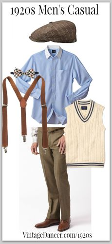 Casual men's 1920s look can be worn with or without a pullover vest. VintageDancer.com/1920s