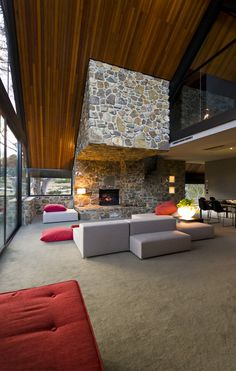Located in Mount Hotham, Australia, the Under the Moonlight House by Giovanni D'Ambrosio Architecture is a contemporary home with hints of a traditional Home Theaters, Fireplace Surrounds, Fireplace Design, Open Fireplace, Fireplace Wall, Slanted Walls, Mountain Homes, My Dream Home, Interior Architecture