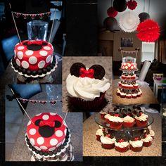 Minnie Mouse Cake and Cupcakes :: i already have a bow mold, now all i need are the mini oreos! jackpot!