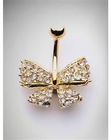 14 Gauge Gold Tone Bling Bow Belly Ring