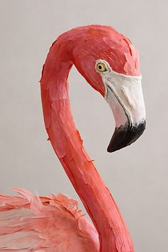 Paper Mache Flamingo with fabric feathers from Anthropologie. head shot
