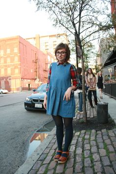 Denim dress/plaid button up/tights/sandals/vintage inspired