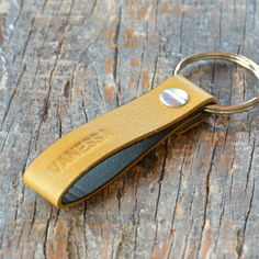 Personalized Light Pink Leather Keychain Style 4 by jeeta on Etsy