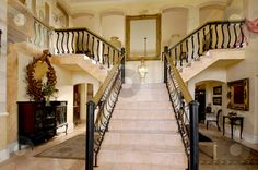 home blueprints images with y-shaped staircases | shaped staircase stock photo, Exquisite Y-shaped staircase in a house ...
