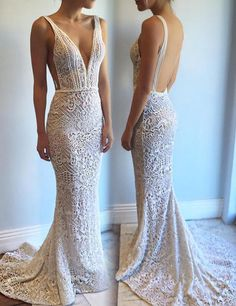 Exquisite Deep V-Neck Sweep Train Lace Backless Mermaid Wedding Dress with Beading