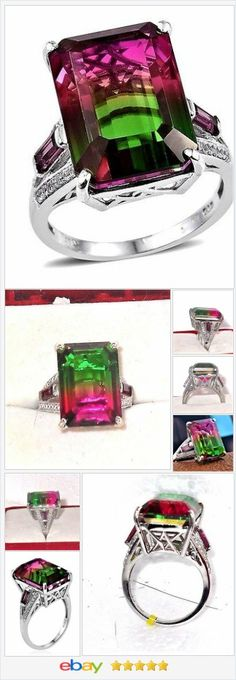 Watermelon Quartz Garnet White Zircon Ring 20 carats Size 7   | eBay  50% OFF #EBAY http://stores.ebay.com/JEWELRY-AND-GIFTS-BY-ALICE-AND-ANN