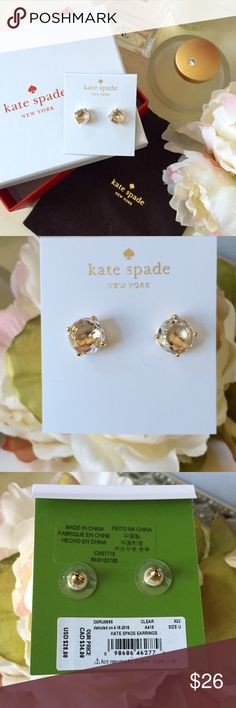 Kate Spade earrings Beautiful Kate Spade gum drop earrings are gold accented with clear stones. Brand new and will come with dust bag & box. Makes the perfect gift for this holiday season! kate spade Jewelry Earrings