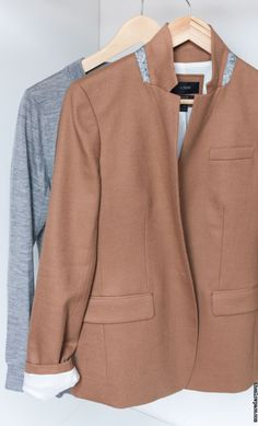 Capsule wardrobe: one month, one piece. An update. JCrew sweater and Regent blazer One Month, Capsule Wardrobe, J Crew, September, One Piece, Blazer, Pretty, Sweaters, Jackets