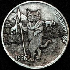 HOWARD THOMAS HOBO NICKEL - ON SAFARI - 1936 BUFFALO NICKEL Hobo Nickel, Coin Art, Rare Coins, Coin Collecting, Skulls, Robot, Cactus, Sculptures, Carving