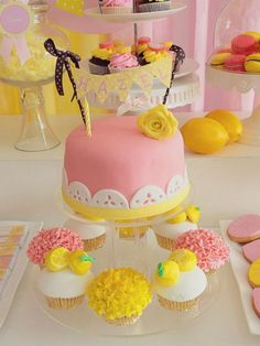 Pink lemonade birthday party cake