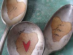 """Love"" Vintage Spoon Plant Marker Trio"