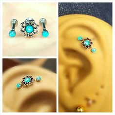 Rose Turquoise Opal Tragus Cartilage Earring Ring Forward Helix Triple Stud 16g 18g Piercing Bar Barbell Surgical Steel 316L  Jewelry