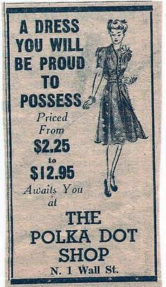 1942. Could we bring back those prices? I can't even get stuff at thrift stores for $2.25!!