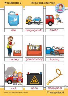 Woordkaarten voor kleuters, thema pech onderweg 2, kleuteridee, free printable