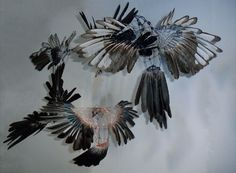 Marcela Trsova - Messengers (wire and feathers)